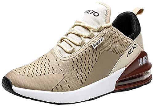 populalar Laufschuhe Herren Damen Turnschuhe Sportschuhe Straßenlaufschuhe Sneaker Atmungsaktiv Trainer für Running Fitness Gym Outdoor Leichte 8GoldBraunWeiß 44EU