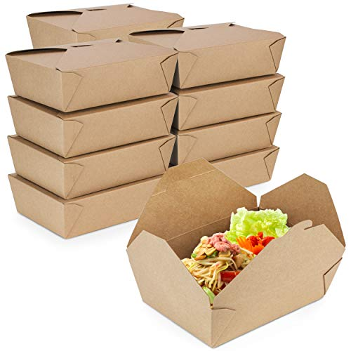 [36 Pack] 71 oz 8.5 x 6 x 2.5 Disposable Paper Take Out Food Containers, Microwaveble Folding Natural Kraft to Go Boxes #3