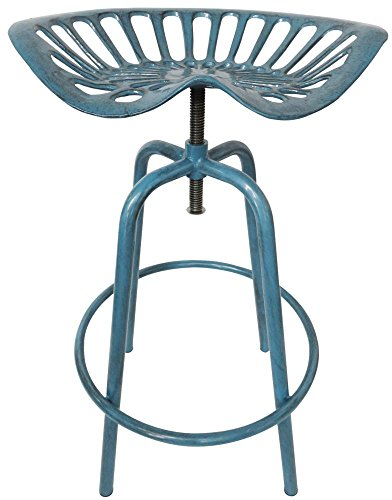 Esschert Design - Chaise Tracteur - 50 x 46,5 x 69,7, Fonte, Acier, Bleu, 50 x 46.5 x 69.7 cm