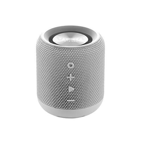 Vieta Pro Easy - Altavoz inalámbrico (True Wireless Bluetooth, Radio FM, Reproductor USB, auxiliar, micrófono integrado, resistencia al agua IPX6, batería de 12 horas) gris