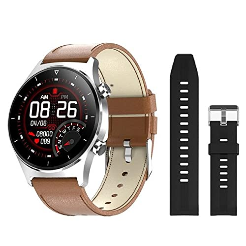 E1-3 Smart Watch for Men - Brown leather