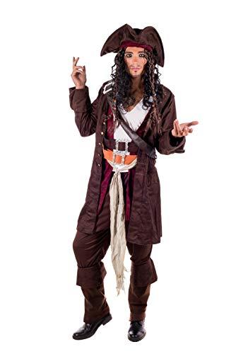 Fun Shack Braunes Rum Schmuggler Pirat Kostüm für Herren, Piratenkostüm Karneval - M