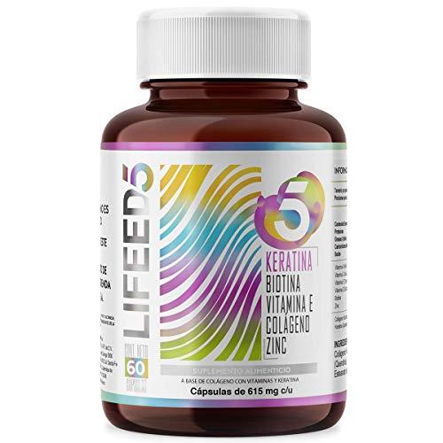 LIFEED HAIR KERATIN | Keratina Biotina Colágeno Zinc Vitamina E | LF5 Cápsulas 60 Dias con Queratina |LIFEED5 para cabello frondoso y hermoso