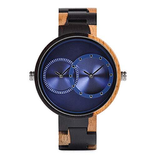 Reloj para Hombre, 2 Zonas horarias, Relojes de Cuarzo de Madera, diseño para Mujer, Reloj de Pulsera de Regalo para Hombre en Caja de Madera, envío Directo W-R10-3