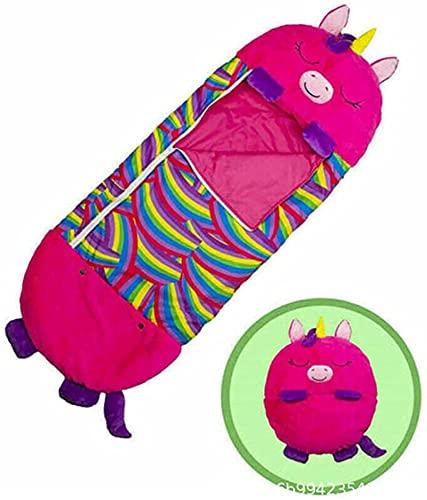 MRZJ Happy Kids - Almohada para siesta, sacos de dormir para bebé, divertidos sacos de dormir plegables, suaves y de animales, para niños, padres y niños, tamaño grande (tamaño: 135 x 50), color rosa