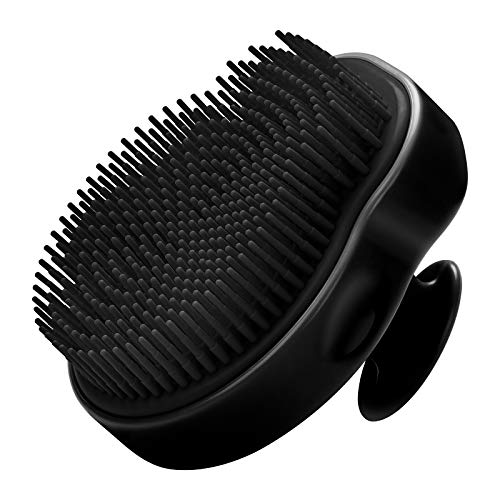 HEETA Body Brush for Wet and Dry Brushing, Silicone Bath Brush on Softer, Glowing Skin, Gentle Massage with Bath and Body Brush to Improve Your Blood Circulation (All Black)