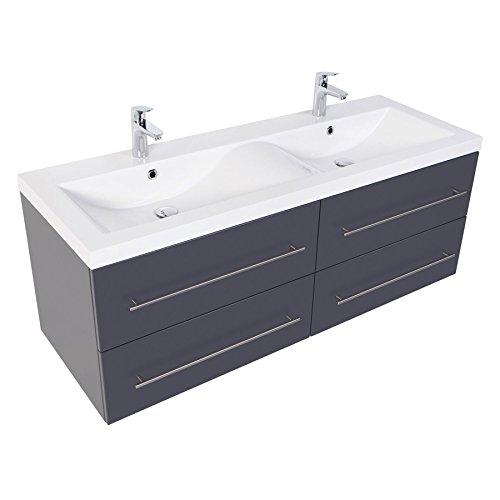 badmöbelset Doppel-Waschplatz 140 inkl. Doppel-Waschbecken in Wellenform in Hochgl. weiß oder Anthrazit seidenglanz (Anthrazit Seidenglanz)