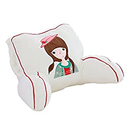 Cute doll reading pillow White