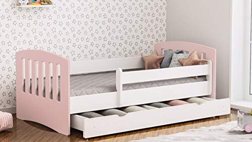 Cama infantil Cama para niños Cama individual con colchón y cajón - Clásico | Perfecto para niños y niñas | Pinturas ecológicas utilizadas | Máxima seguridad | Hasta 120 KG (180x80 Rosa palido)