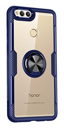 SORAKA Cover Trasparente per Honor 7X con Supporto Anello Rotante a 360 Gradi Cover Trasparente Hard PC+Paraurti TPU con Piastra Metallica per Supporto Auto Smartphone Magnetico