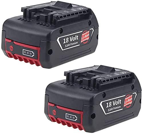 Moticett 2 × Repuesto Baterías de iones de litio para Bosch BAT609 18V 5500mAh Funciona para Bosch BAT609 BAT610G BAT618G BAT619 BAT621 BAT620 18V con Indicadores de carga