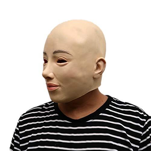 GXDHOME Maschera di Testa di Lattice di Halloween, Simulazione di Orrore Calvo Bellezza Costume in Maschera Viso Spaventoso Diavolo Demone Masquerade sanguinante Creepy Fantasma Zombie