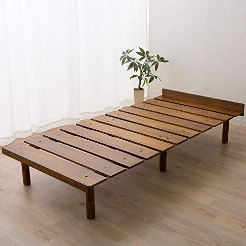 EMOOR Solid Pine Wood Slatted Platform Bed Frame OSMOS for Japanese Twin Size Futon Mattress (38x79in), Height Adjustable (2/7/12in), Retro-Brown