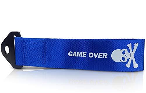 NOVUSVIA Premium Abschleppschlaufe Abschleppband Abschleppöse Abschleppseil Tow Strap Game-Over Design Inkl. M14x40 Bolzen + Mutter Verzinkt Besonders Strapazierfähig & Universell Einsetzbar BLAU