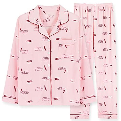 BAIXIAOCHI Pijamas Mujer OtoñO E Invierno Manga Larga Chaqueta De Punto con Solapa Pantalones De Traje Tallas Grandes Servicio A Domicilio