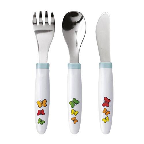 Emsa ANTON ANT set de 3 couverts pour bébé, fourchette, couteau et cuillère, acier inoxydable,