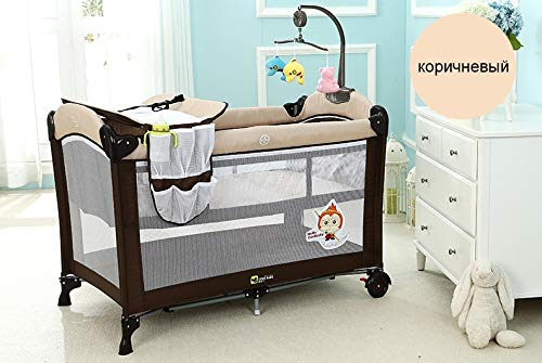 Check Out This JINGGEGE Multifunctional Folding Bed Portable Baby Crib with Baby Mosquito Net Shaker...