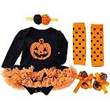TMOYJPX Disfraces Niña Halloween Disfraz Mono Niño 0-24 Meses Invierno, Conjunto Ropa Bebe Niña, Mameluco de Falda+Banda de Pelo+Calcetines (0-3 meses, Calabaza~B)