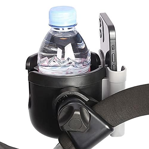 Soapow Portavasos para cochecito con soporte para teléfono universal de rotación de 360 grados, organizador 2 en 1 botella para cochecito de bicicleta