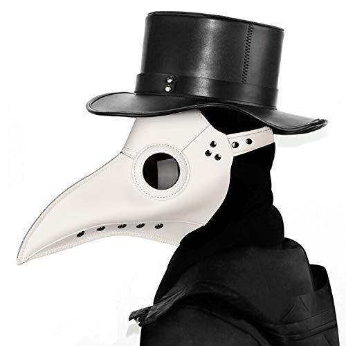 Máscara de médico de la plaga,Comius Sharp Máscaras de Pájaro, accesorio de Halloween, máscara de disfraz Steampunk, para Mardi Gras, fiesta de máscaras, Navidad. (white)