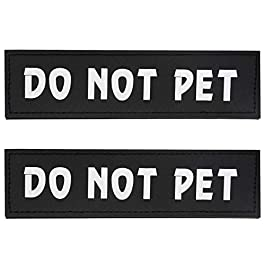 Bolux Dog Vest Patches, 2 PCS Removable Patches Velcro for Dog Harness – Emotional Support/Service Dog/in Training/Therapy Dog/DO NOT PET/Keep Going PU Dog Halter Patches