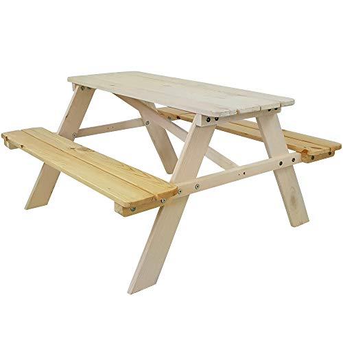 SunDeluxe Kinder Picknicktisch Weiß/Natur - Kindersitzgruppe aus Holz für drinnen und draußen - Kindersitzgarnitur für 4 Kinder - mit abgerundeten Ecken und Kanten