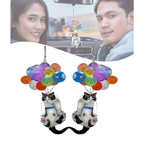 klfg 2pcs Cat Car Hanging Ornament with Colorful Balloon, Flying Cat Car Pendant, Creative Cute Car Rearview Mirror Pendant, Car Interior Decor Hanging Accessories