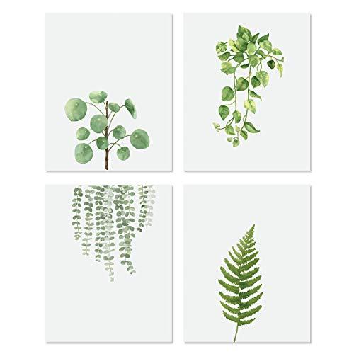 KAIRNE Lot de 4 Affiche Vertes Plante,Affiche Feuille Verte pour Salon,Poster de Feuilles Tropical,Nordique Art Posters,Mur Toile Photos pour Chambre Cuisine Salle de Bain Décor,sans Cadre,20 * 25cm