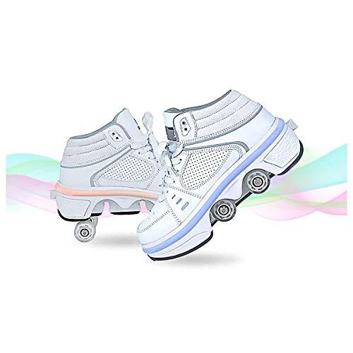 HANHJ Calzado Deportivo Monopatín Zapatillas Gimnasia Al Aire Libre Niños Niñas Calzado Casual con Ruedas Botón Presión Zapatillas Skate Ajustables para Niños Niñas Adultos Jóvenes,EU38/UK 4.5