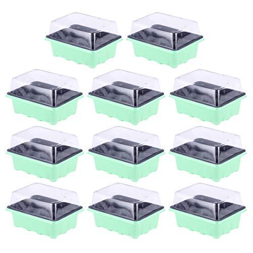 DOITOOL 10 Pièce Mini Serre pour Semis avec 12 Cellules Mini Serre de Jardin Plastique Bac à Semis pour Démarrage Et Croissance Semence Kit de Germination Serre 18 X 14 X 6 cm (Vert)