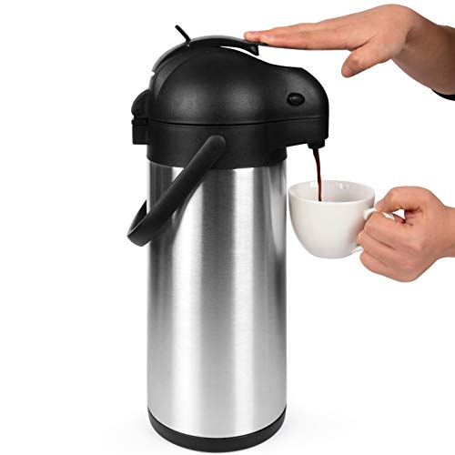 102 Oz (3L) Airpot Thermal Carafe/Lever Action/Stainless Steel Thermos / 12 Hour Heat Retention / 24 Hour Cold Retention/Coffee Urn by Cresimo