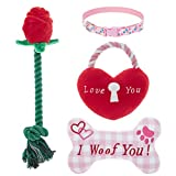 SCENEREAL Valentine's Day Dog Plush Squeaky Toys with Collar Set - Rose & Heart Lock & Bones & Collar Set - Ideal Gifts for Small Medium Dogs, Puppies