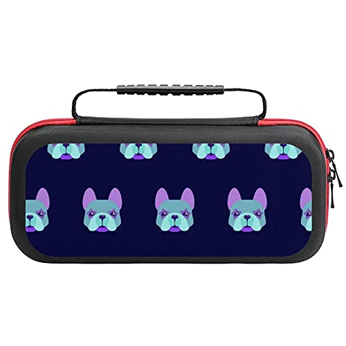 French Bulldog Faces Pattern Carrying Case For Nintendo Switch Protective Portable Travel Tote Bag
