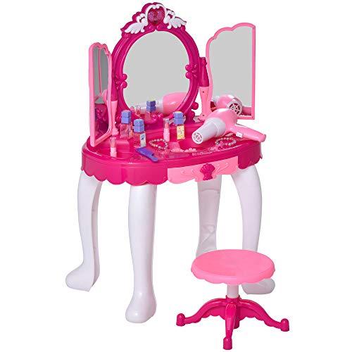 HOMCOM Coiffeuse Enfant Table de Maquillage Fonction de Lumière et de Musique Fuchsia Rose Blanc