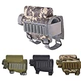 E-HORDE Rifle Buttstock Portable Adjustable Tactical Shell Holder Cheek Rest Pad Ammo Pouch Holder with 7 Shells Holder for Hunting Shooting (ACU)