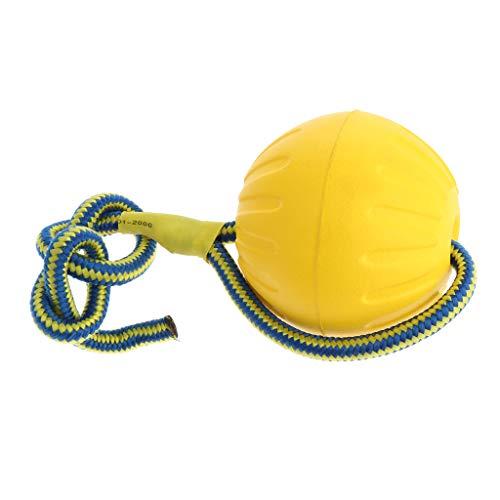 FLAMEER Hundeball Schwimmfähig Wurfball Hundespielball Hundespielzeug Ball am Seil für Kleine Mittlere Große Hunde - Gelb, L
