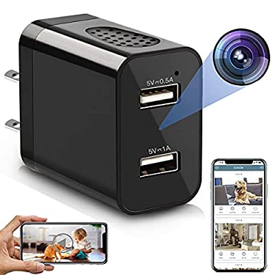 Spy Camera Wireless Hidden WiFi Charger Camera with Remote View - 1080P HD Hidden Nanny Cam - USB Hidden Spy Camera Charger - Indoor Security Camera Recorder Motion Activated - iOS Android, Black