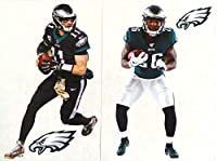 "FATHEAD Carson Wentz & Miles Sanders Mini Graphics + 2 Philadelphia Eagles Logo Official NFL Vinyl Wall Graphics - Each Player 7"" INCH"