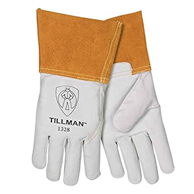 """John Tillman and Co Medium 12 12"""" Pearl and Gold Top Grain Goatskin Unlined TIG Welders Gloves with 4"""" Cuff and Kevlar Thread Locking Stitch (Carded), 1328M"""
