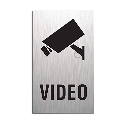 Panneau videoüberwacht | Plaque de porte de vidéosurveillance | Aluminium dur anodisé | Aspect plaque en acier inoxydable | 100 x 60 mm | N° 44683-S