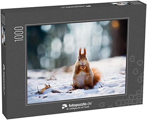 fotopuzzle.de Puzzle 1000 Teile Süßes rotes Eichhörnchen frisst eine Nuss in der Wintersaison mit schönem verschwommenem Wald im Hintergrund
