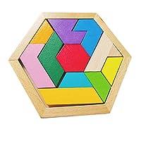 ZHIZI 婴儿・智育玩具 六角形のタングラムパズルおもちゃ、すべての年齢に適した3ピースファミリーパズルゲーム