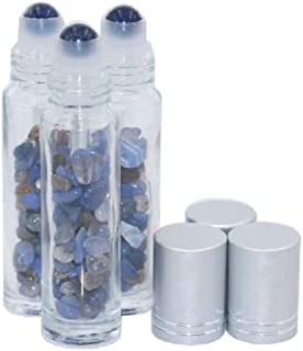 3PCS 10ml Clear Glass Sodalite Gemstone Roller Bottles Empty Essential Oil Roll-on Bottles Perfume Sample Vials Jars Containers with Silver Caps and Healing Crystal Chips Inside
