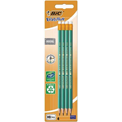 BIC Bleistift Evolution Original 655 HB mit Radierer, Blister à 4 Stück, grün