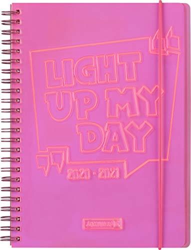 "BRUNNEN 1072190071 ""Light up"", Wochenkalender/Schülerkalender 2020/2021, 2 Seiten = 1 Woche , Blattgröße 14,8 x 21 cm , A5 , PVC-Einband , pink"