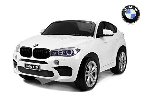 RIRICAR Elektroauto Kinder BMW X6 M, Weiss, 2 x 120W, Zwei Sitze in Leder, Original lizenziert, Batteriebetrieben, öffnende Türen, Elektrische Bremse, 2X Motor, 12V10Ah Batterie, weiche Eva-Räder