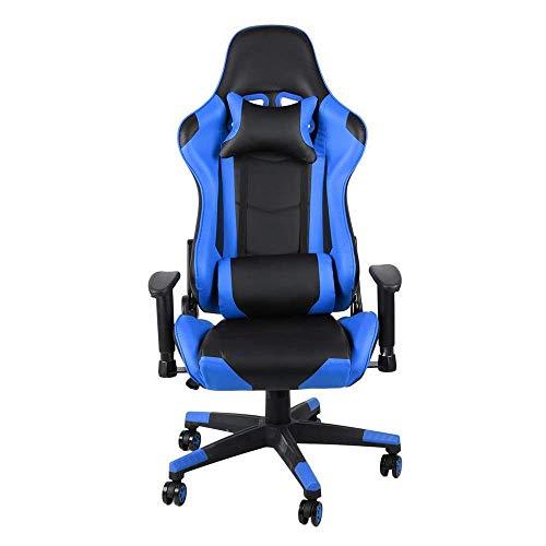 Videospielstuhl,Drehender ergonomischer E-Sports-Stuhl Höhenverstellbare Rückenlehne mit Lendenpolster gegen einen blauen Lederstuhl für Arbeitsspiele (Color : Picture Color, Size : 70X70X127CM