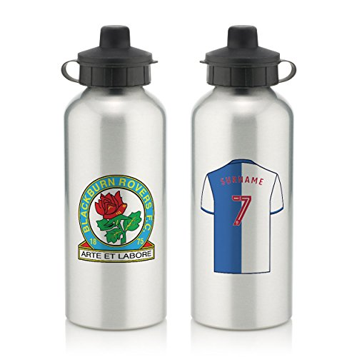 Official PERSONALISED Blackburn Rovers FC Aluminium Silver Water Bottle with Spring Hook (600ml)