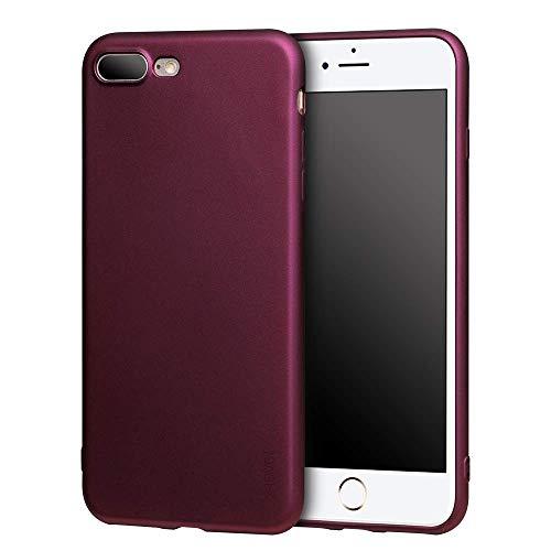 X-level Cover per iPhone 8 Plus,iPhone 7 Plus,Custodia Protezione in Morbida Silicone TPU,Ultra Sottile e Anti-Graffio, Cover Ultra Slim per iPhone 8 Plus/iPhone 7 Plus (5.5 Pollici)-Vino Rosso