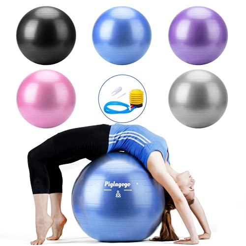 Pelota de Ejercicio Pelota de gimnasia, para embarazo, para asiento de oficina, pilates, yoga, exercices, deportes, accesorio antideslizante, protección contra explosiones con bomba de bola